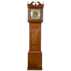 Chippendale Oak, Mahogany Inlaid Tall Case Clock, England, 18th Century