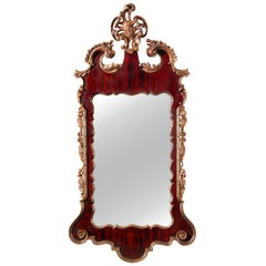 Carved Mahogany and Giltwood Chippendale Style Mirror, 19th Century