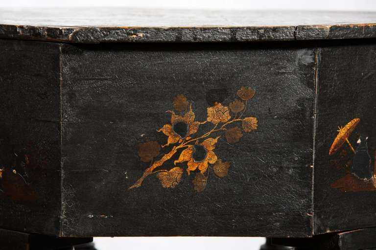 American Rare Japanned and Lacquered Worktable, Boston, circa 1840 For Sale