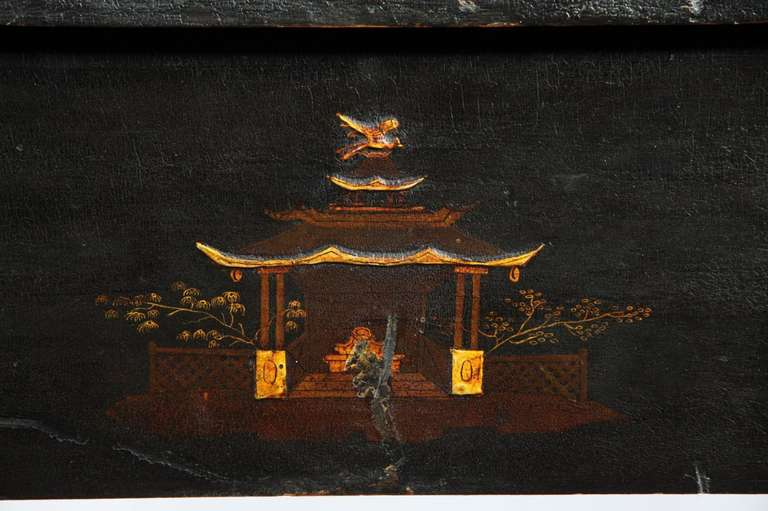 19th Century Rare Japanned and Lacquered Worktable, Boston, circa 1840 For Sale