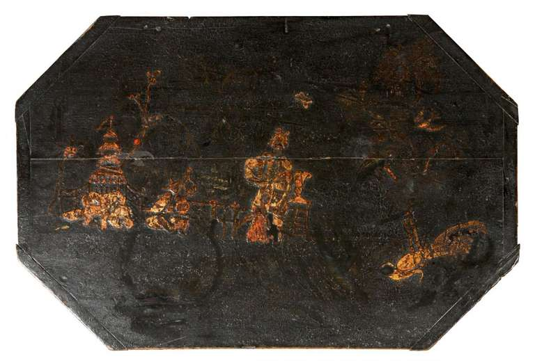 Rare Japanned and Lacquered Worktable, Boston, circa 1840 In Excellent Condition For Sale In Providence, RI