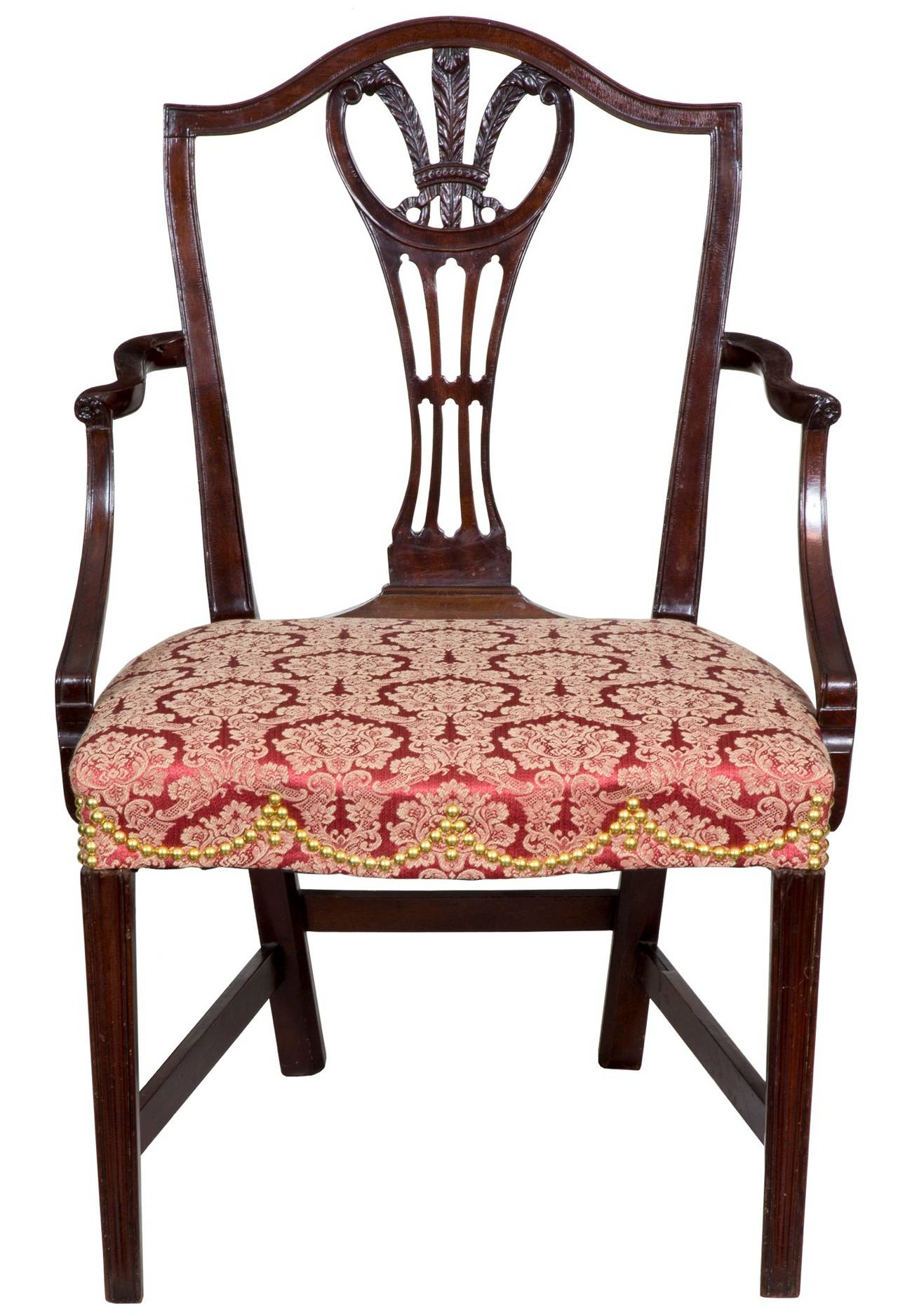 Attribution is based on a labelled chair, antiques April, 1961, page 374, George Shipley: His Furniture and His Label.   The arched crest in this example centers on a finely carved Prince of Wales feathers splat which hearkens to its Chippendale
