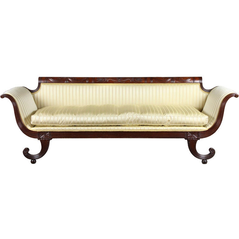 Carved Mahogany Classical Sofa With Curule Legs New York For Sale