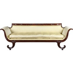Carved Mahogany Classical Sofa with Curule Legs, New York