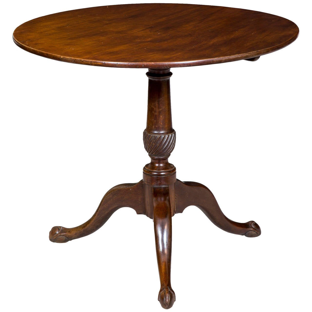 Chippendale Tilt Top Table With Spiral Carved Column