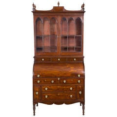 Federal or Classical Cylinder Front Secretary with Ivory Inlays