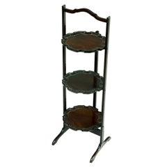 Solid Mahogany Three-Shelf Dish Stand, 19th Century