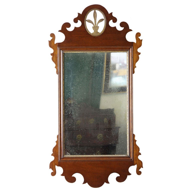 Mahogany Carved Chippendale Mirror with Gilt Urn