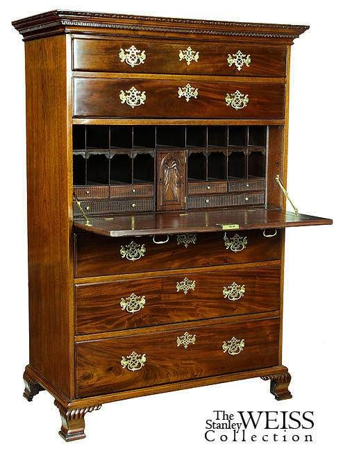 chippendale mahogany secretaire bureau england for sale at 1stdibs. Black Bedroom Furniture Sets. Home Design Ideas
