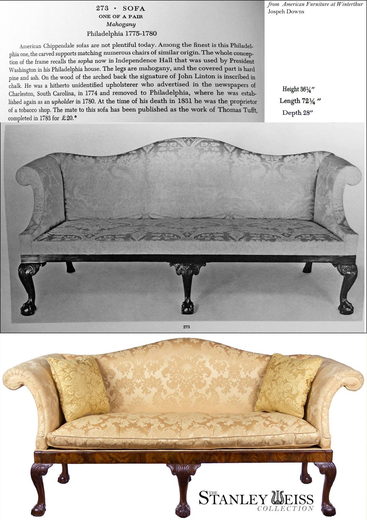 Chippendale Camelback Sofa with Claw and Ball Feet, English or Irish, circa 1770 For Sale 1
