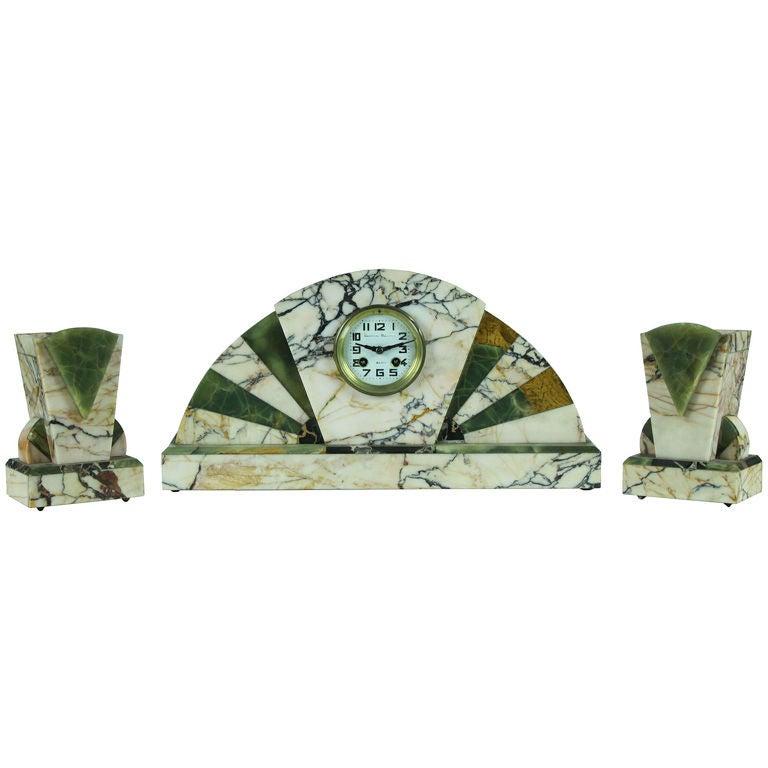 Three-Piece Marble and Onyx Art Deco Mantel Clock