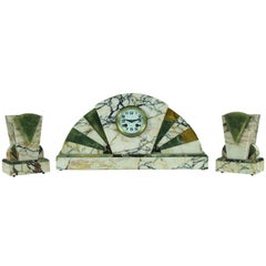 Three-Piece Marble and Onyx Art Deco Mantel Clock