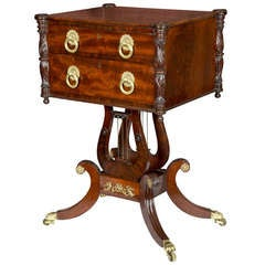 Fine Classical Carved Mahogany Double Lyre Work Table, Philadelphia, circa 1810