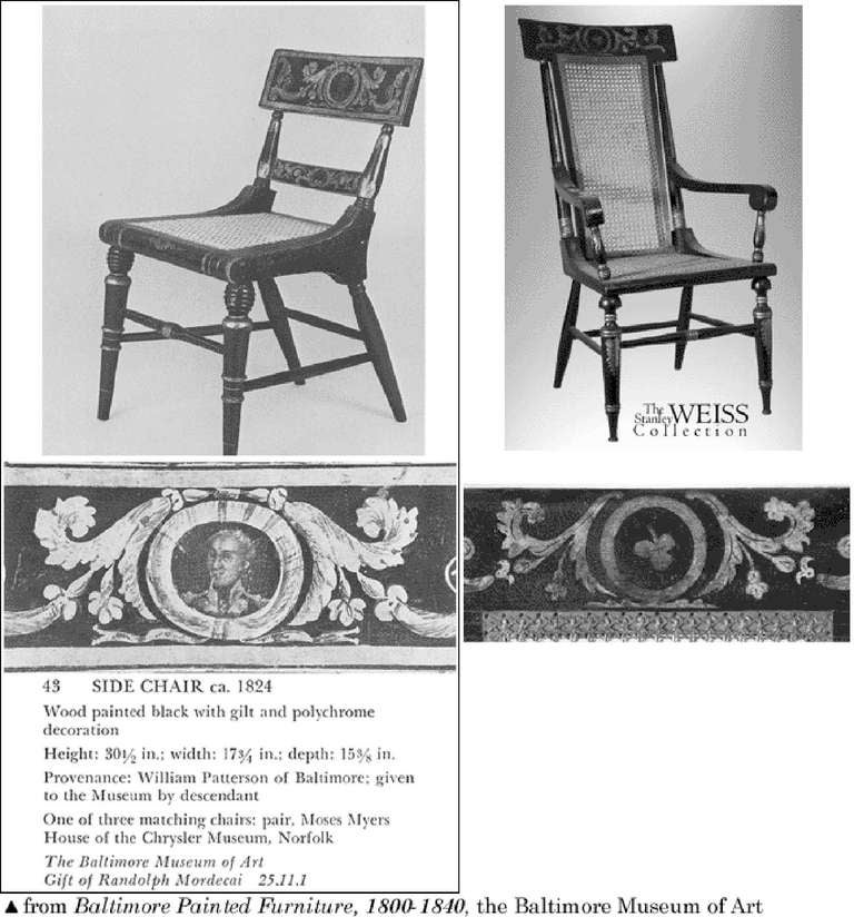 19th Century Classical Painted Armchair, Baltimore, circa 1820 For Sale