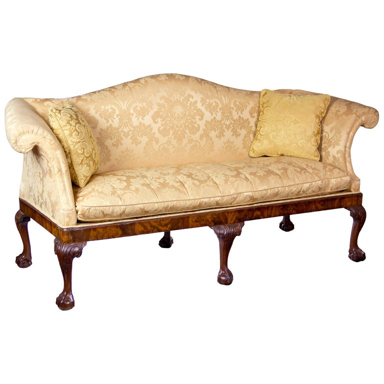 Chippendale Camelback Sofa with Claw and Ball Feet, English or Irish, circa 1770 For Sale