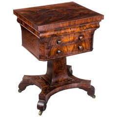 Gothic Classical Mahogany Worktable, circa 1830-1840