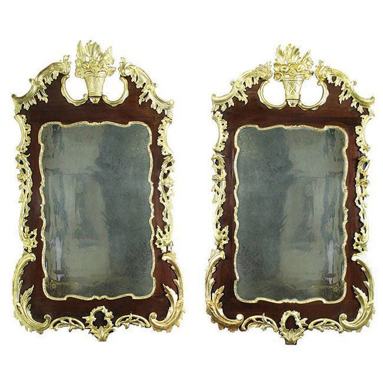 Rare Pair of Parcel-Gilt Mahogany Chippendale Rococo Mirrors