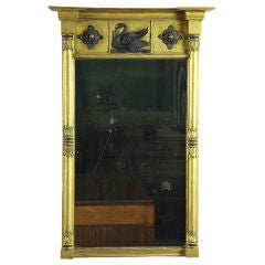 Classical Gilt Mirror with Swan Carving, New England