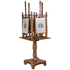 Large Mahogany Painting Stand or Easel with a Revolving Four-Picture Capability
