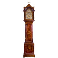 Monumental Inlaid Mahogany Edwardian Tall Chime Clock, England, circa 1900