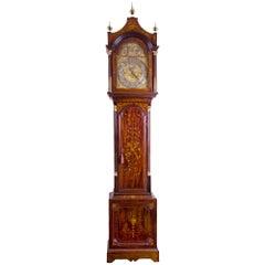 Monumental Inlaid Mahogany Edwardian Tall Chime Clock, England, circa 1900