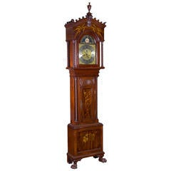 Walter Durfee Marquetry Galle Japanesque Inlay Tall Clock, Providence,circa 1900