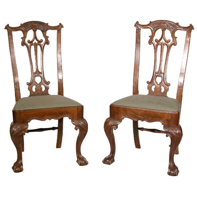 Top Pair of Carved Chippendale Ball and Claw Feet Side Chairs For Sale  GU39