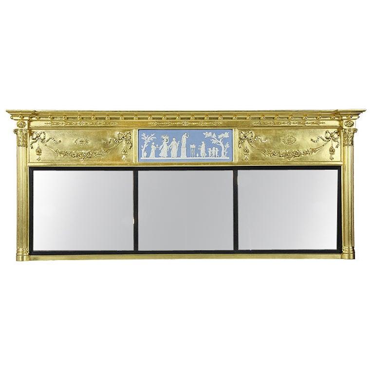 Monumental Federal Giltwood Overmantel Mirror
