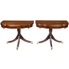 Pair of Classically Carved Trick Leg Tables by Frederick Hagen, circa 1928-1931