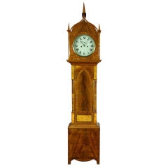 Gothic Mahogany Burl and Rosewood Tall Case Clock