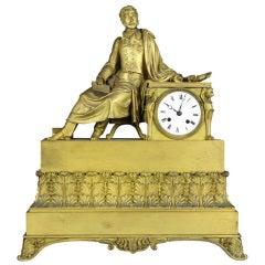 French Restoration Gilt Bronze Mantel Clock