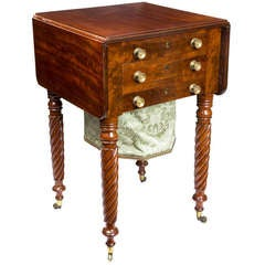 Classical Mahogany Three-Drawer Work Table, Probably New York, circa 1830