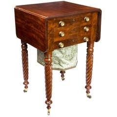 Classical Mahogany Three-Drawer Work Table, Probably New York, circa 1830