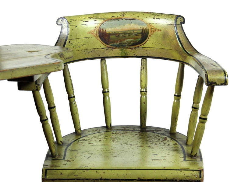 This is a wonderful country writing chair for an adult, that an adult and/or child can use in a bright color with a magnificent painted scenic landscape. The paint on this chair is completely original with no in-painted or touch-ups whatsoever. It