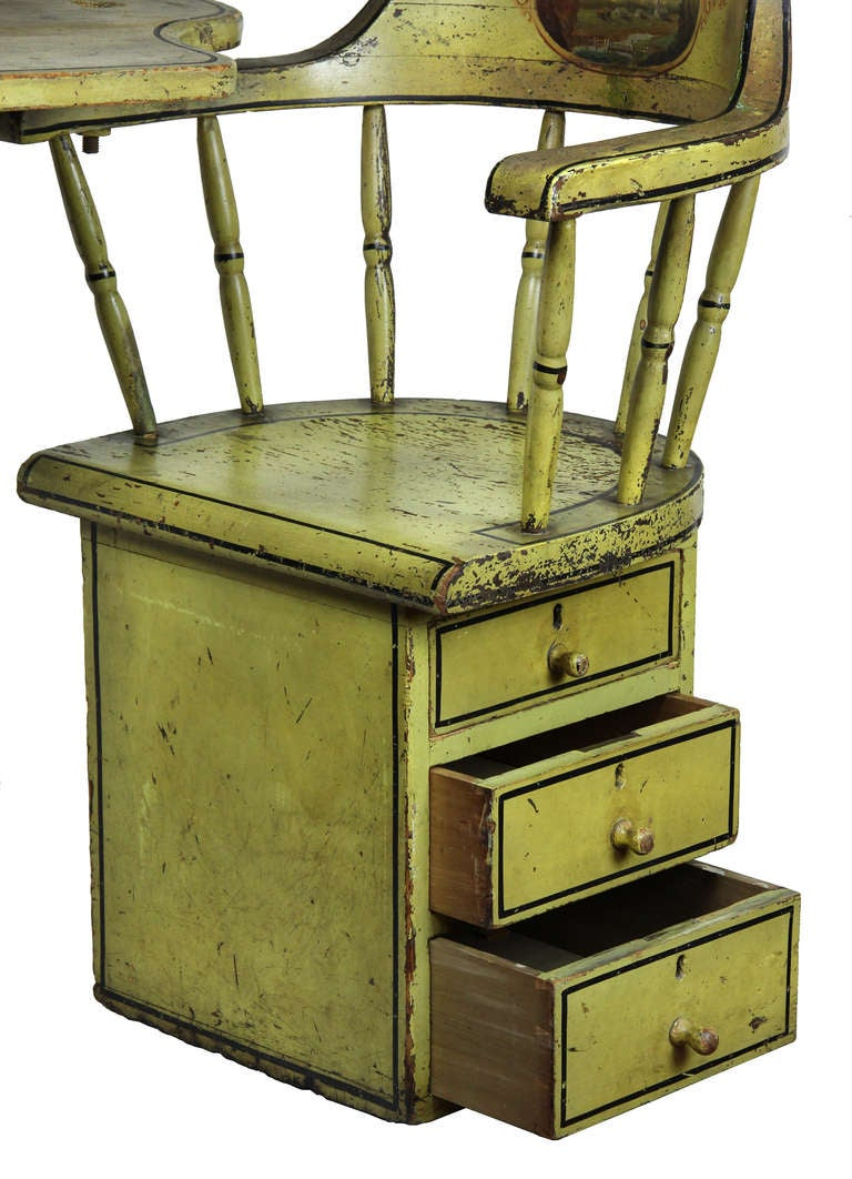 American Unusual Paint Decorated Windsor Writing Armchair, Mid-19th Century, MA For Sale