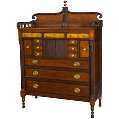 Monumental Federal Carved, Tiger Maple and Mahogany Chest