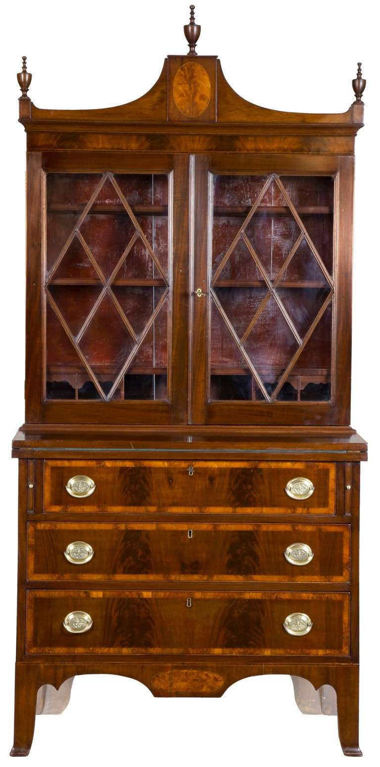 Small Inlaid Mahogany Federal Secretary Desk Salem Circa