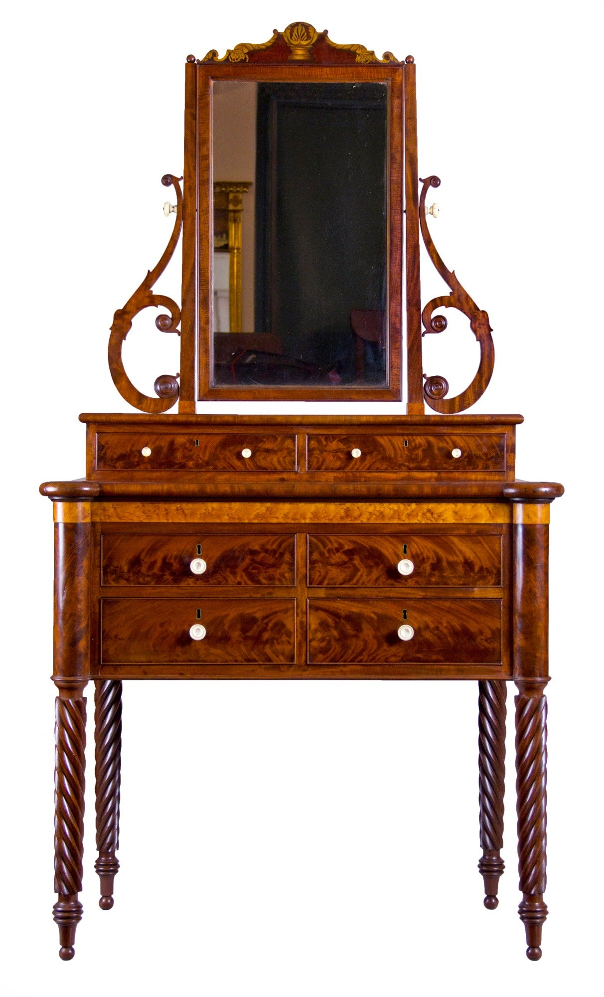 Antique mirrored dressing table - Mahogany And Birds Eye Maple Dressing Table With Mirror Baltimore 2
