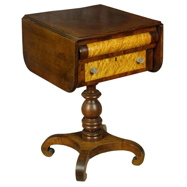 Cherry and Maple Classical Worktable, New England For Sale