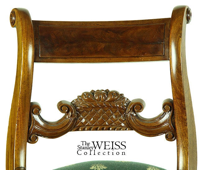 American Classical Mahogany Empire Piano Stool with Fruit Basket For Sale