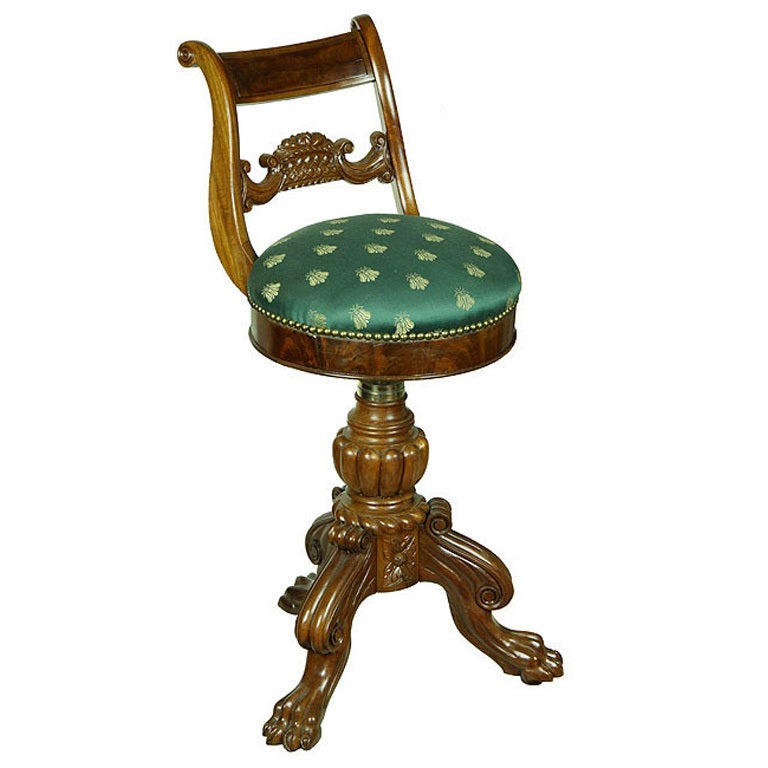 Mahogany Empire Piano Stool with Fruit Basket For Sale