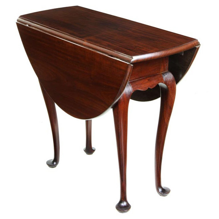 Queen Anne Style Diminutive Mahogany Drop Leaf Table 1