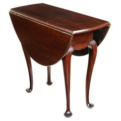 Queen Anne Style Diminutive Mahogany Drop-Leaf Table