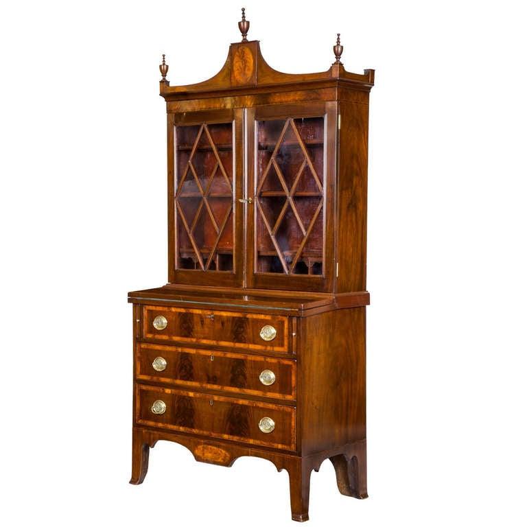 small inlaid mahogany federal secretary desk salem circa 1
