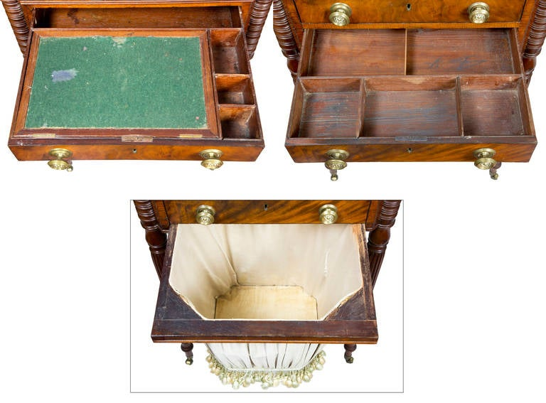 American Classical Classic Work Table with Original Brasses For Sale