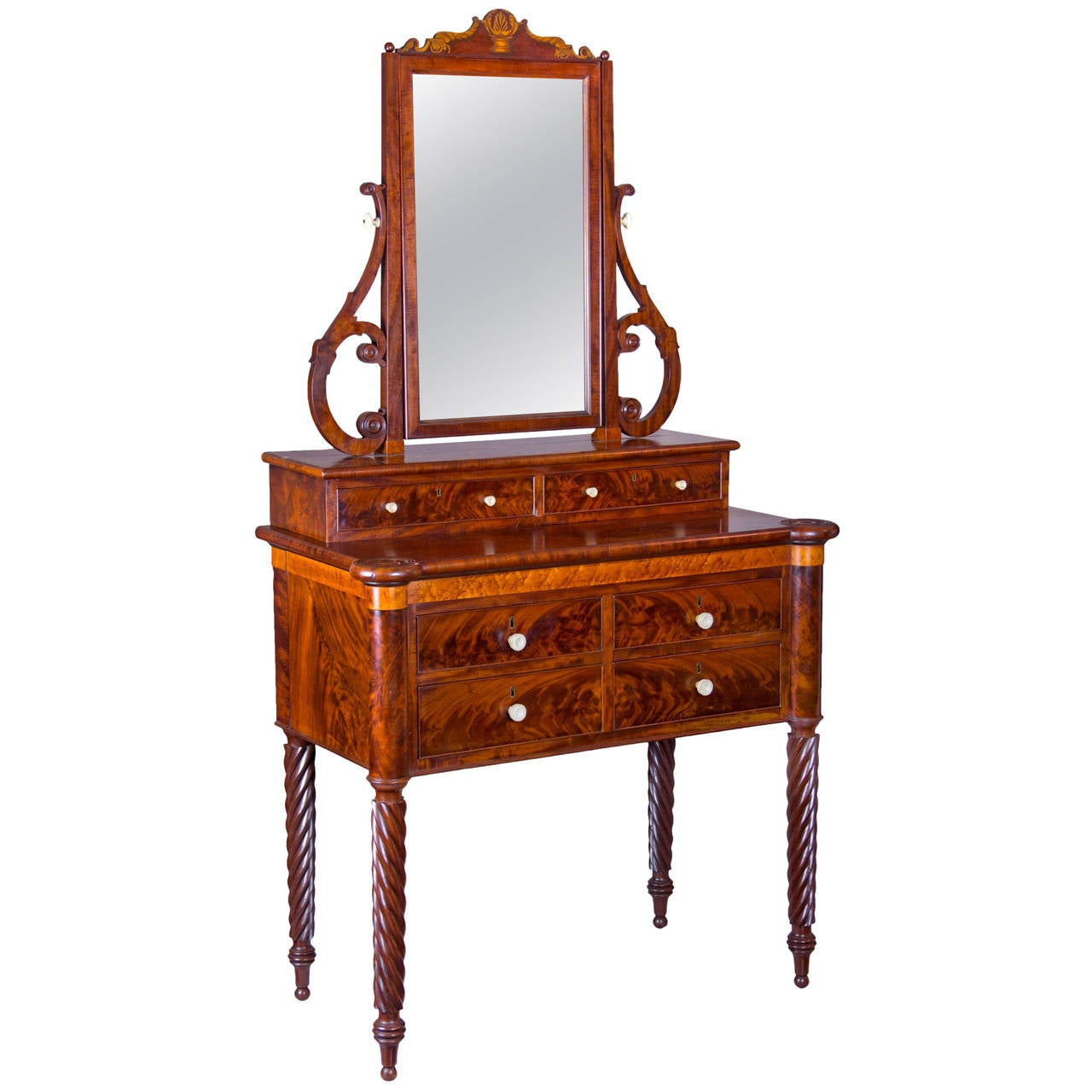 Mahogany And Birds Eye Maple Dressing Table With Mirror
