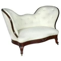 Early Diminutive Victorian Mahogany Upholstered Sofa