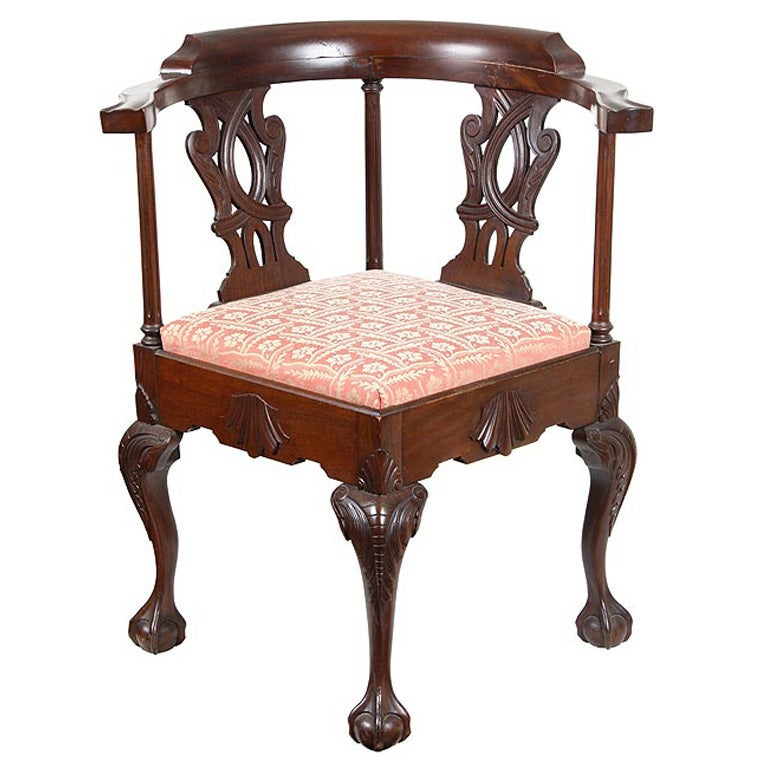Mahogany Chippendale style Corner Chair in the