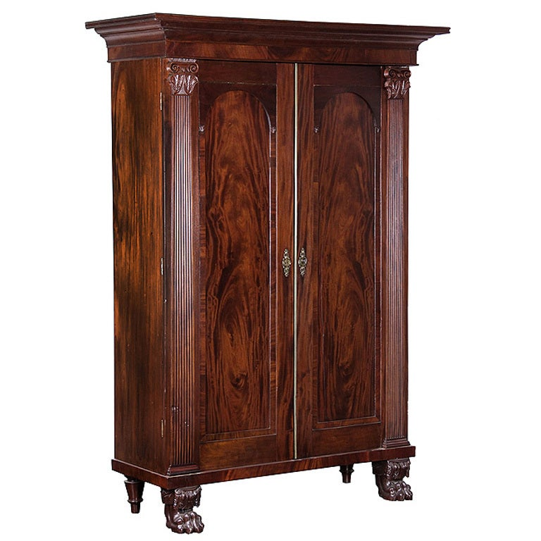Monumental neoclassical mahogany linen press southern for for Linen press