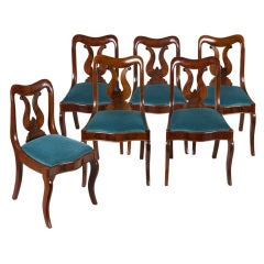 Six Mahogany Neoclassical Klismos Chairs Attributed to Phyfe